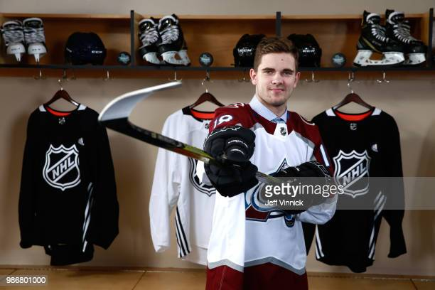 Martin Kaut poses for a portrait after being selected sixteenth overall by the Colorado Avalanche during the first round of the 2018 NHL Draft at...