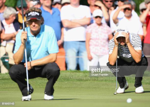 Martin Kaymer and Bernhard Langer of Germany during the second round of The BMW International Open Golf at The Munich North Eichenried Golf Club on...