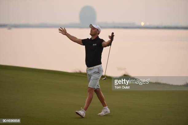 Martin Kaymer celebrates during The Abu Dhabi Invitational at Yas Links Golf Course on January 13 2018 in Abu Dhabi United Arab Emirates