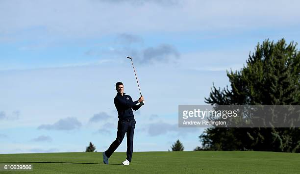 Martin Kaymer of Europe plays a shot on the third hole prior to the 2016 Ryder Cup at Hazeltine National Golf Club on September 27, 2016 in Chaska,...