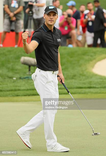 Martin Kaymer of Germany celebrates after an eagle on the 18th hole during the final round of the Abu Dhabi HSBC Championship at Abu Dhabi Golf Club...