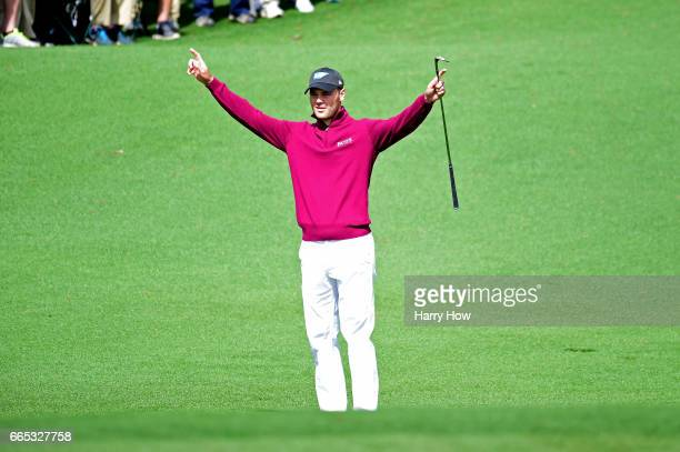 Martin Kaymer of Germany celebrates chipping in for eagle on the second hole during the first round of the 2017 Masters Tournament at Augusta...