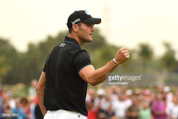 Martin Kaymer of Germany celebrates his eagle on the 18th green during the final round of the Abu Dhabi HSBC Championship at Abu Dhabi Golf Club on...