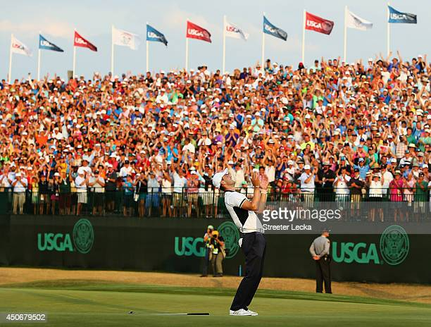 Martin Kaymer of Germany celebrates his eightstroke victory on the 18th green during the final round of the 114th US Open at Pinehurst Resort Country...