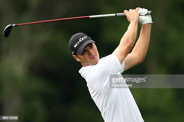 Martin Kaymer of Germany hits a shot during the second day of previews to the 109th US Open on the Black Course at Bethpage State Park on June 16...