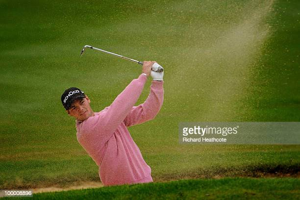 Martin Kaymer of Germany hits from a bunker on the 3rd hole during the first round of the BMW PGA Championship on the West Course at Wentworth on May...