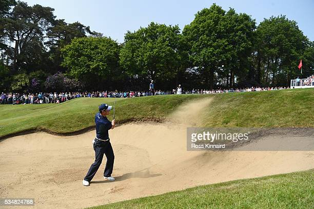 Martin Kaymer of Germany hits his 2nd shot on the 14th hole during day three of the BMW PGA Championship at Wentworth on May 28, 2016 in Virginia...