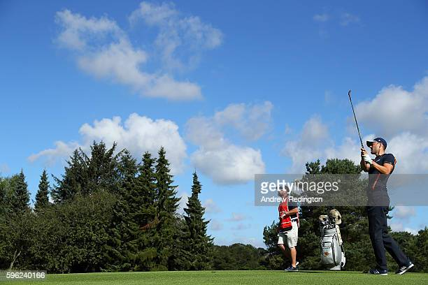 Martin Kaymer of Germany hits his second shot on the 1st hole during the third round of Made in Denmark at Himmerland Golf Spa Resort on August 27...