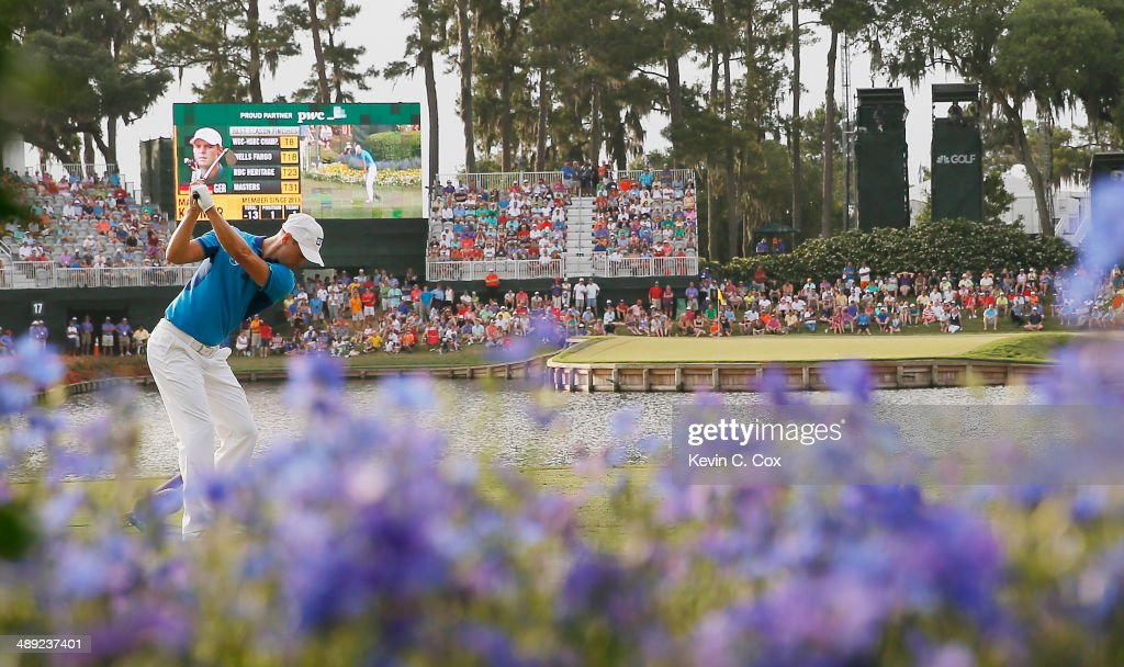 Martin Kaymer of Germany hits his tee shot on the 17th hole during the third round of THE PLAYERS Championship on the stadium course at TPC Sawgrass on May 10, 2014 in Ponte Vedra Beach, Florida.
