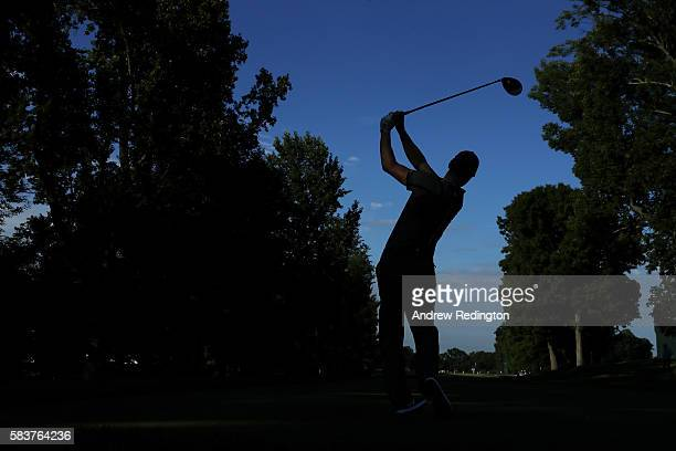 Martin Kaymer of Germany hits his tee shot on the sixth hole during a practice round prior to the 2016 PGA Championship at Baltusrol Golf Club on...
