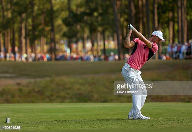 Martin Kaymer of Germany hits his tee shot on the tenth hole during the third round of the 114th US Open at Pinehurst Resort Country Club Course No 2...