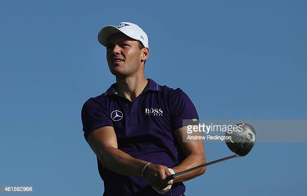 Martin Kaymer of Germany hits his teeshot on the 16th hole during the first round of the Abu Dhabi HSBC Golf Championship at the Abu Dhabi Golf Cub...