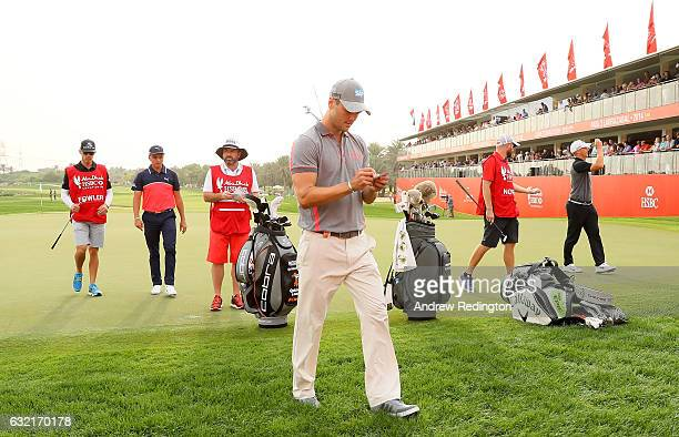 Martin Kaymer of Germany leaves the 18th green during the second round of the Abu Dhabi HSBC Championship at the Abu Dhabi Golf Club on January 20...