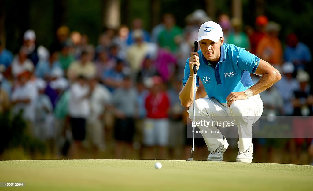 Martin Kaymer of Germany lines up a putt during the first round of the 114th U.S. Open at Pinehurst Resort & Country Club, Course No. 2 on June 12, 2014 in Pinehurst, North Carolina.