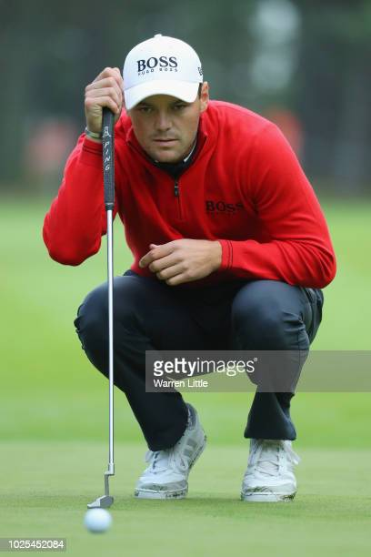 Martin Kaymer of Germany lines up his putt on the 10th green during day two of the Made in Denmark played at the Silkeborg Ry Golf Club on August 31...