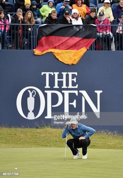 Martin Kaymer of Germany lines up his putt on the first green during the third round of the 144th Open Championship at The Old Course on July 19 2015...