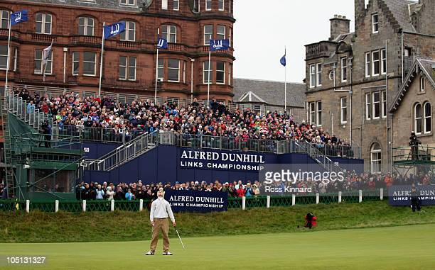 Martin Kaymer of Germany looks to the sky on the 18th green after his victory in the final round of The Alfred Dunhill Links Championship at The Old...