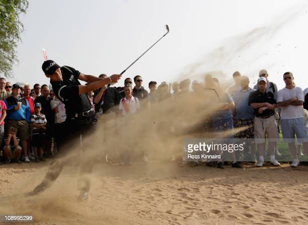 Martin Kaymer of Germany on the par four 14th hole during the second round the Omega Dubai Desert Classic on the Majlis course at the Emirates Golf...