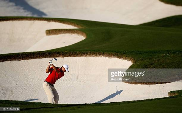 Martin Kaymer of Germany on the par four 15th hole during the first round of the Dubai World Championship on the Earth Course Jumeirah Golf Estates...
