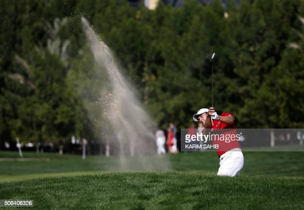 TOPSHOT Martin Kaymer of Germany plays a shot during the Abu Dhabi Golf Championship in the capital of the United Arab Emirates on January 23 2016