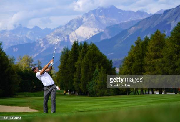 Martin Kaymer of Germany plays a shot during the first round of the Omega European Masters at CranssurSierre Golf Club on September 6 2018 in...