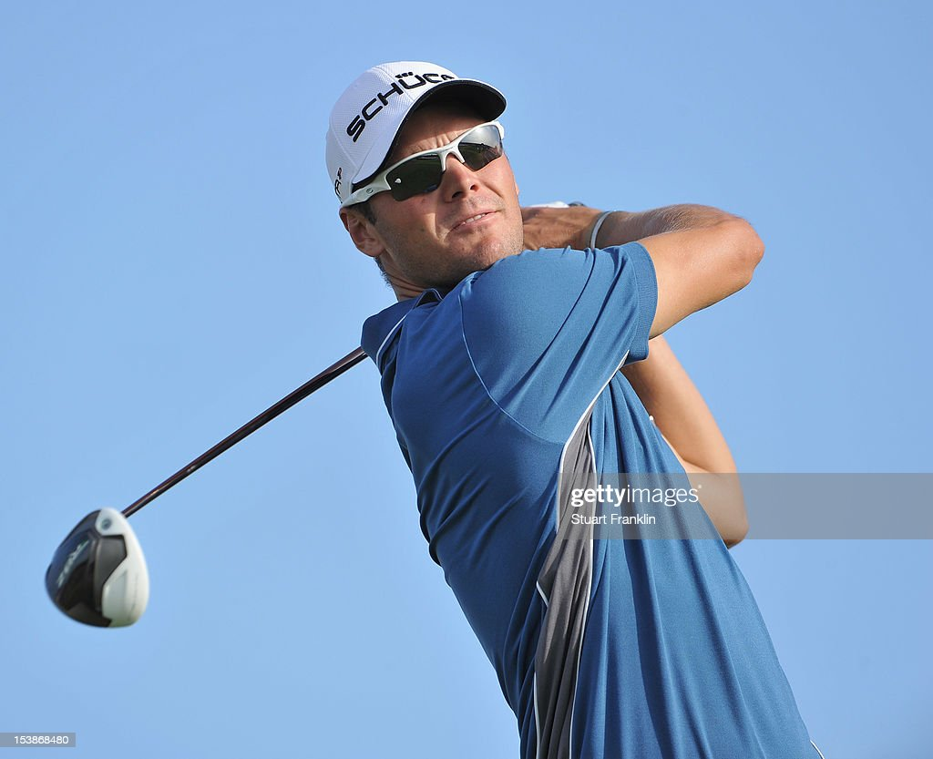 Martin Kaymer of Germany plays a shot during the pro-am prior to the start of the Portugal Masters at the Victoria golf course at Villamoura on October 10, 2012 in Faro, Portugal.