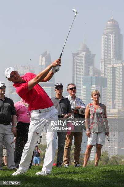 Martin Kaymer of Germany plays a shot during the round two of the Dubai Desert Classic at Emirates Golf Club on January 26 in Dubai / AFP PHOTO /...