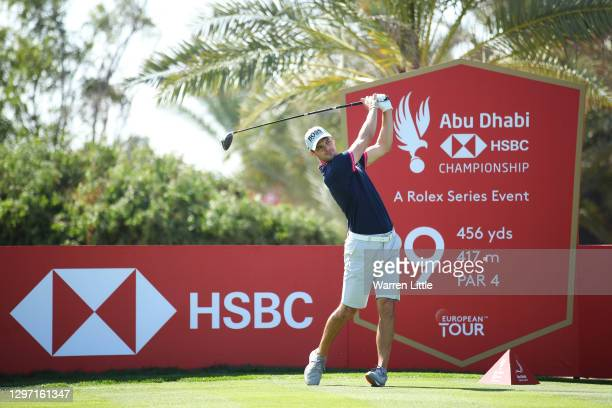 Martin Kaymer of Germany plays a shot from the 9th tee during practice ahead of the Abu Dhabi HSBC Championship at Abu Dhabi Golf Club on January 19,...