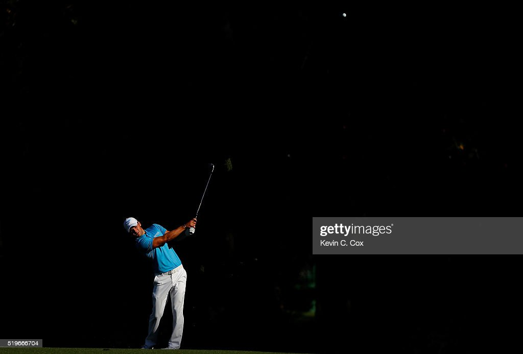 Martin Kaymer of Germany plays a shot on the 13th hole during the first round of the 2016 Masters Tournament at Augusta National Golf Club on April 7, 2016 in Augusta, Georgia.