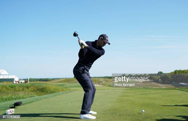 Martin Kaymer of Germany plays a tee shot during a practice round prior to the 2018 US Open at Shinnecock Hills Golf Club on June 12 2018 in...
