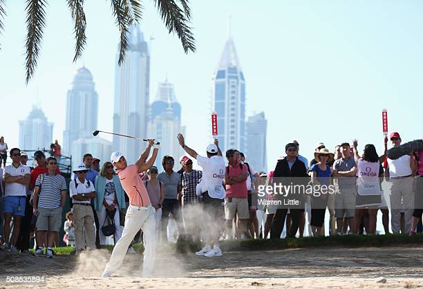Martin Kaymer of Germany plays his second shot on the 13th hole during the second round of the Omega Dubai Desert Classic at the Emirates Golf Club...
