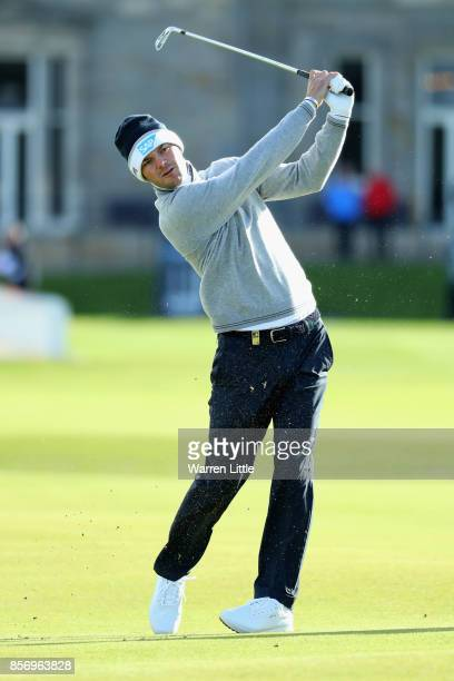 Martin Kaymer of Germany plays his second shot on the 1st hole during practice prior to the 2017 Alfred Dunhill Links Championship at The Old Course...