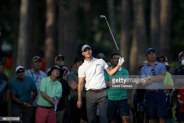 Martin Kaymer of Germany plays his second shot on the par 4, 10th hole during the second round of THE PLAYERS Championship on the Stadium Course at...