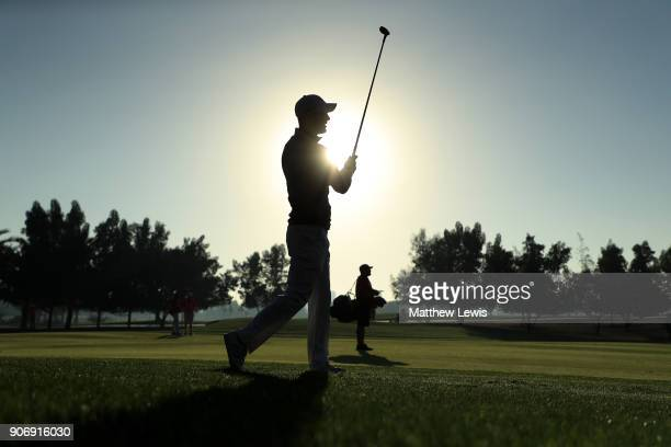 Martin Kaymer of Germany plays his second shot on the tenth hole during round two of the Abu Dhabi HSBC Golf Championship at Abu Dhabi Golf Club on...