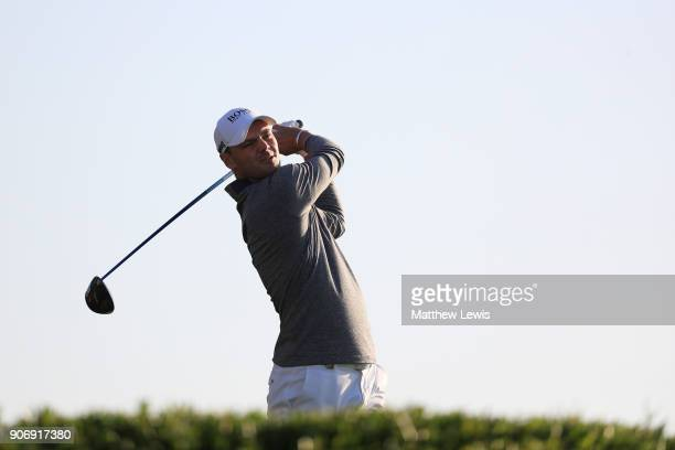 Martin Kaymer of Germany plays his shot from the 11th tee during round two of the Abu Dhabi HSBC Golf Championship at Abu Dhabi Golf Club on January...
