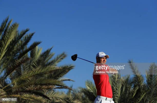 Martin Kaymer of Germany plays his shot from the 14th tee during round two of the Abu Dhabi HSBC Golf Championship at Abu Dhabi Golf Club on January...