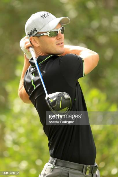 Martin Kaymer of Germany plays his shot from the eighth tee during the final round of the Abu Dhabi HSBC Golf Championship at Abu Dhabi Golf Club on...