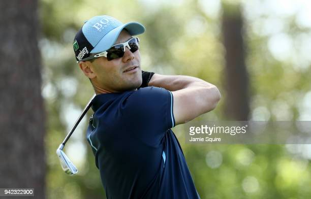 Martin Kaymer of Germany plays his shot from the fourth tee during the first round of the 2018 Masters Tournament at Augusta National Golf Club on...