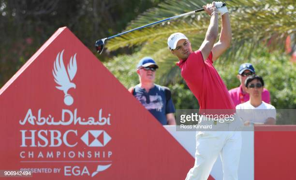 Martin Kaymer of Germany plays his shot from the ninth tee during round two of the Abu Dhabi HSBC Golf Championship at Abu Dhabi Golf Club on January...