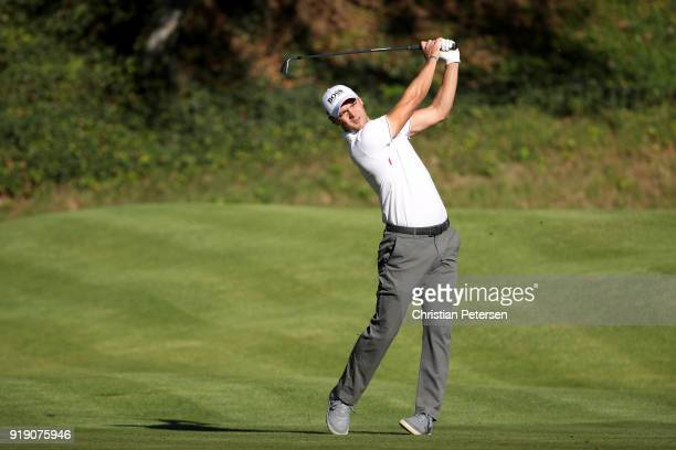 Martin Kaymer of Germany plays his shot from the sixth tee during the second round of the Genesis Open at Riviera Country Club on February 16 2018 in...