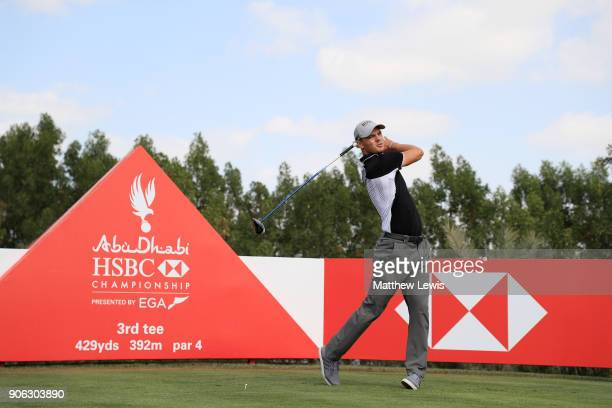 Martin Kaymer of Germany plays his shot from the third tee during round one of the Abu Dhabi HSBC Golf Championship at Abu Dhabi Golf Club on January...