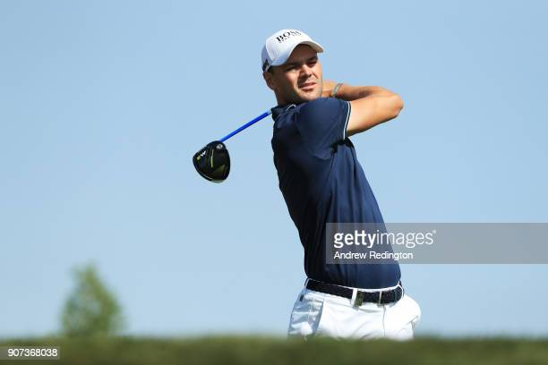 Martin Kaymer of Germany plays his shot from the third tee during round three of the Abu Dhabi HSBC Golf Championship at Abu Dhabi Golf Club on...