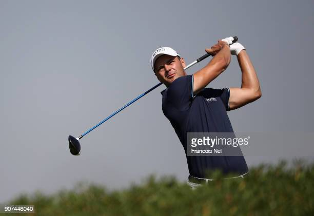 Martin Kaymer of Germany plays his shot from the third tee during the third round of the Abu Dhabi HSBC Golf Championship at Abu Dhabi Golf Club on...