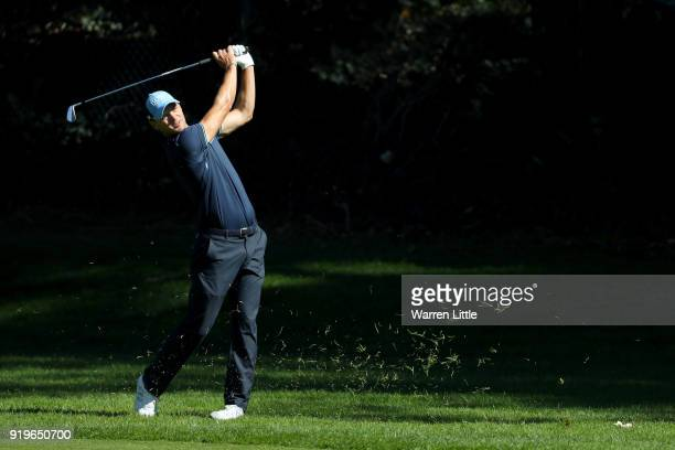 Martin Kaymer of Germany plays his shot on the 12th hole during the third round of the Genesis Open at Riviera Country Club on February 17 2018 in...
