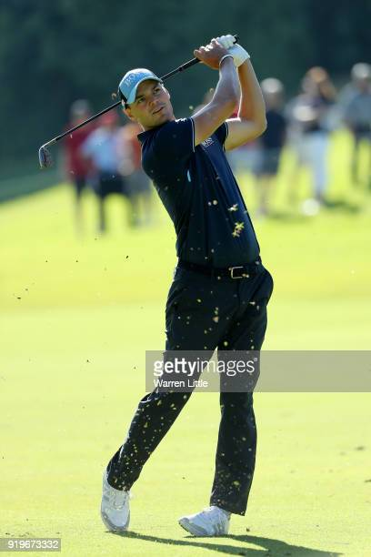 Martin Kaymer of Germany plays his shot on the 18th hole during the third round of the Genesis Open at Riviera Country Club on February 17 2018 in...