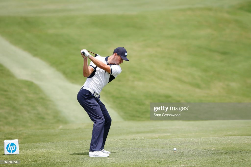 Martin Kaymer of Germany plays his tee shot on the second hole during the third round of the HP Byron Nelson Championship at the TPC Four Seasons on May 17, 2014 in Irving, Texas.