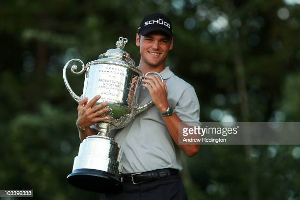 Martin Kaymer of Germany poses with the Wanamaker Trophy after defeating Bubba Watson during the threehole aggregate playoff at the 92nd PGA...