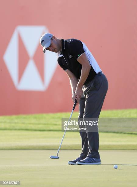 Martin Kaymer of Germany putts on the 18th green during round one of the Abu Dhabi HSBC Golf Championship at Abu Dhabi Golf Club on January 18 2018...