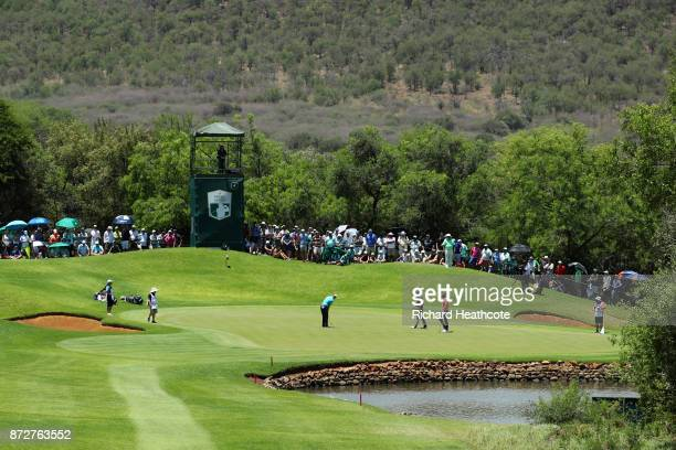 Martin Kaymer of Germany putts on the 4th green during the third round of the Nedbank Golf Challenge at Gary Player CC on November 11 2017 in Sun...