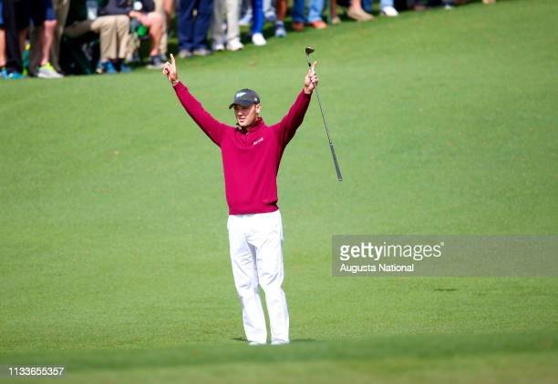 Martin Kaymer of Germany reacts after eagle on the second hole during the first round of the Masters at Augusta National Golf Club Thursday April 6...